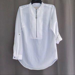 MICHAEL Michael Kors Tops - MICHAEL Michael Kors Zip Up Pintuck Shirt S EUC